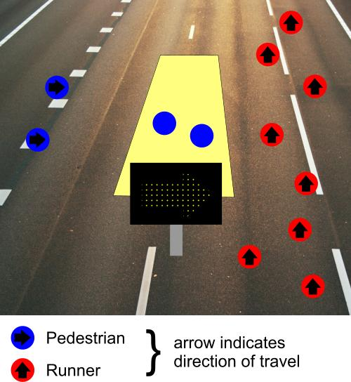 Road race pedestrian crossing 1